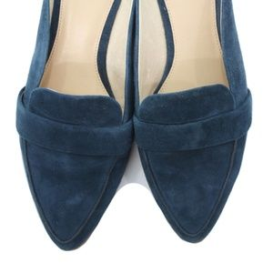 VINCE CAMUTO 'KIRSTIE' NAVY BLUE SUEDE FLAT MULES